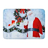 Aabagael Bath Mat Red Jolly Santa Claus Standing The Fireplace in Room Decorated Christmas Talking on Phone Bathroom Decor Rug 16'' x 24''