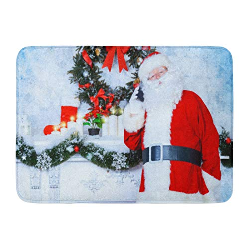 Aabagael Bath Mat Red Jolly Santa Claus Standing The Fireplace in Room Decorated Christmas Talking on Phone Bathroom Decor Rug 16'' x 24'' by Aabagael