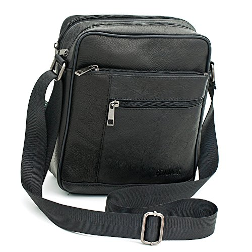 Small Genuine Leather Cross Body Messenger Bags Satchel Shoulder Bag for Men Black (Med Black Leather Purse)