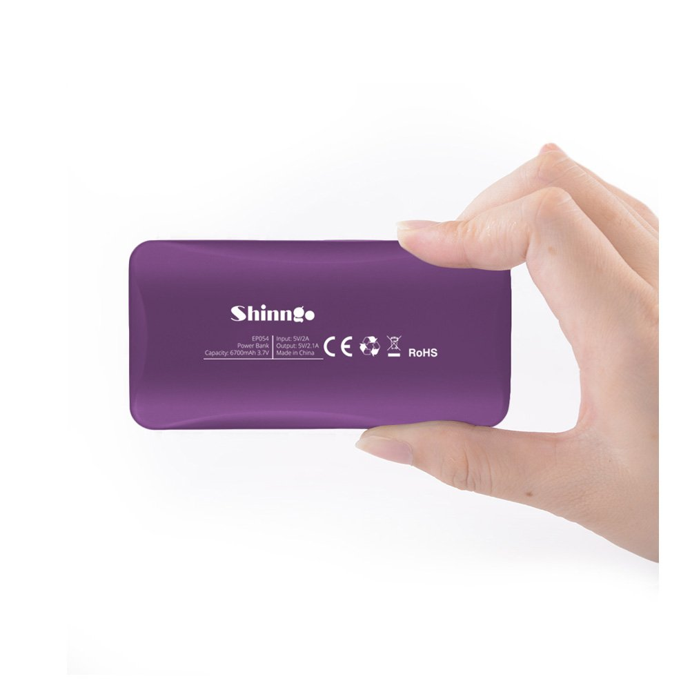 Shinngo Portable Charger 6700mAh Ultra Compact Power Bank with Smart LCD Digital Screen for Apple iPhone Samsung Galaxy and more (Purple) by Shinngo