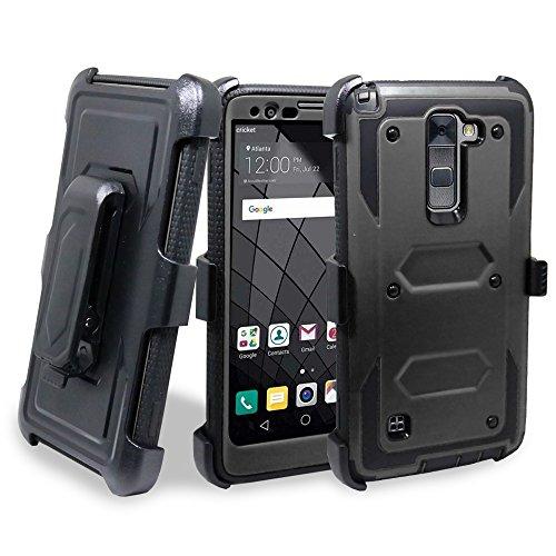 LG G Stylo 2 / LG G Stylo 2 Plus / LG Stylo 2 V / LG LS775 Case, Customerfirst - High Impact Resistant Black Dual Layer Armor Holster With Locking Belt Clip Defender Case + keychain (Armor Black)