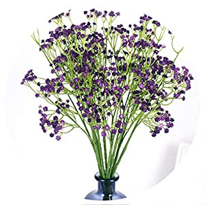 58cm Rustic Artificial Baby Breath Flower Wedding Flower Decor for Home Party gypsophila 21 pcs,Purple 108