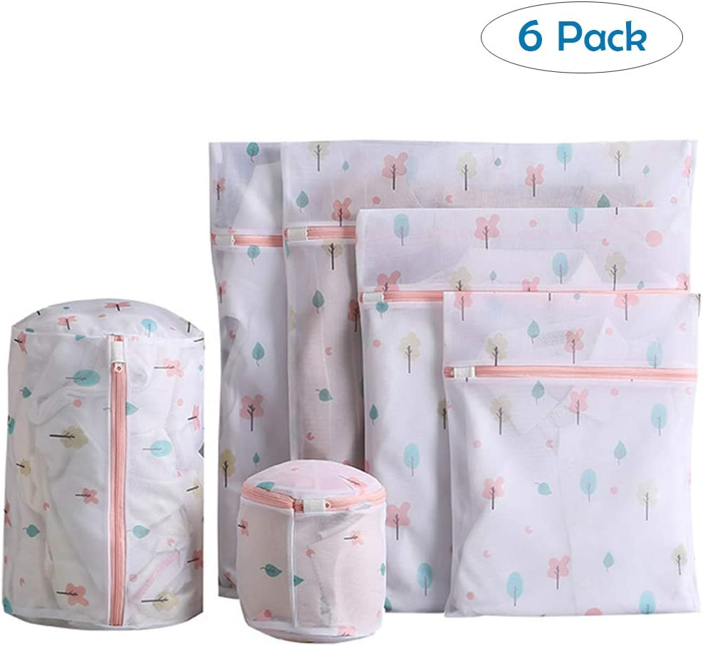 6 Pack Tree Mesh Laundry Bags for Delicates, Premium Travel Storage Organizer Bag, Reusable Durable Clothing Washing Bags for Lingerie Blouse Bra Hosiery Underwear in Washing Machine and Drier