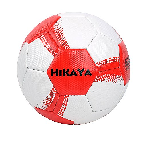 HIKAYA Championship Soccer Ball Official size 5 PVC plus Rubber Synthetic Durable Surface, Soft and Conformtable Touching (Red)