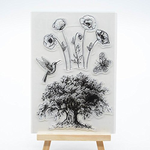 Welcome to Joyful Home 1pc Tree Bird Flower Rubber Clear Stamp for Card Making Decoration and Scrapbooking