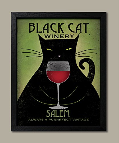 Cat Purrrfect (Black Cat Winery Salem- Always A Purrrfect Vintage by Ryan Fowler; One 11x14in Black Framed Print)