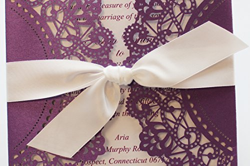 Purple Wedding Invitation Cards with White Ribbon Bow (50) by After (Image #1)