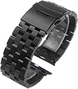Black Stainless Steel Watch Band Compatible for Apple 42mm/44mm Matte Metal Watch Strap Replacement Wristband for iWatch Series 6 SE 5 4 3 2 1 Safety Double Deployment Clasp