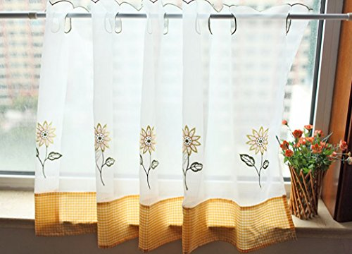 ZHH Pastoral Style Cafe Curtain Embroidery Sunflower Window Valance 17 by 59-Inch, Yellow (Sunflowers Valance)