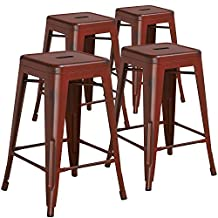 """Flash Furniture High Backless Distressed Kelly Metal Indoor Counter Height Stool (4 Pack), 24"""", Red"""