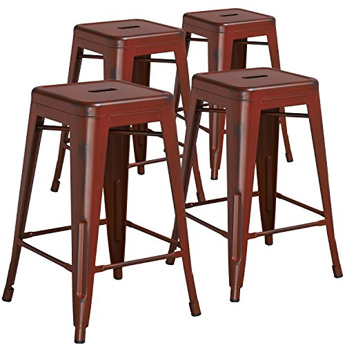 24' Kitchen Stools - Flash Furniture 4 Pk. 24'' High Backless Distressed Kelly Red Metal Indoor-Outdoor Counter Height Stool