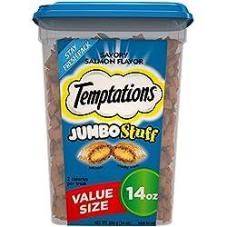 Temptations Jumbo Stuff Cat Treats, Savory Salmon Flavor, 14 oz Tub