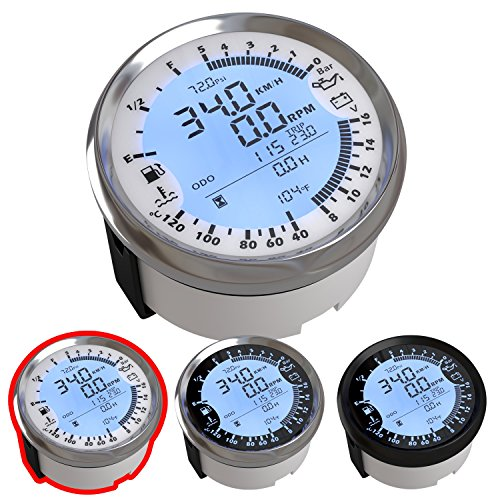 Atach 85MM Digital GPS Speedometer, Tachometer and MULTIMETER, 6 in 1  Functions (White and Silver Bezel)