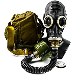 Genuine Original Soviet Russian Black gas mask GP-5 with black hose Surplus USSR face mask (Medium)