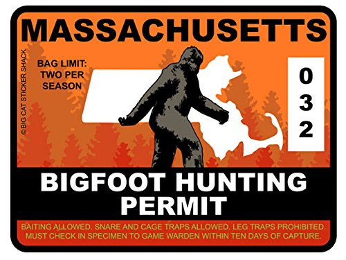Bigfoot Hunting Permit - MASSACHUSETTS (Bumper Sticker)