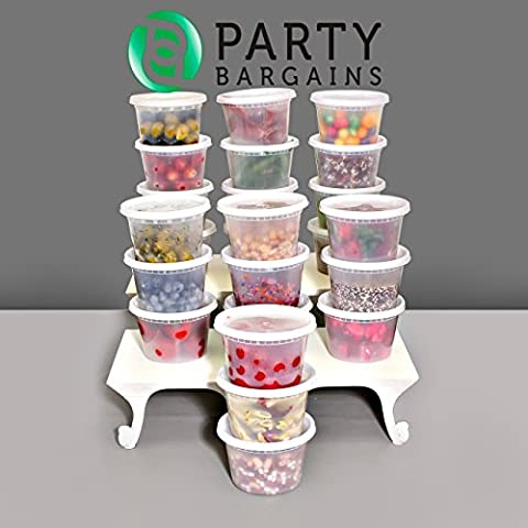 Party Bargains Storage Containers with Lids | Foodsavers Deli Containers, Microwave Temperature Resilient, Dishwasher Safe Stackable, Leak Proof & Reusable -16oz | Pack of - 16 Ounce Plastic Containers