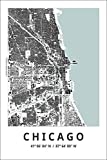 Spitzy's Map of Chicago Illinois 12 by 18 Inch City Map Poster - Traveler, United States, Adventurer, Modern Wall Decor Art