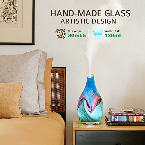 Foromans Essential Oil Diffuser 120ml Art Pattern Handmade Glass Ultrasonic Aromatherapy Diffuser with Intermittent Setting LED Colorful Night Light Cool Mist Humidifier for Bedroom Office Home Decor