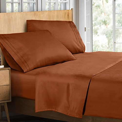 Clara Clark Supreme 1500 Collection 4pc Bed Sheet Set Burnt Sienna Rust, Orange Brown