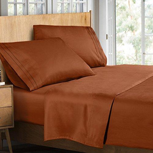 Clara Clark Supreme 1500 Collection 4pc Bed Sheet Set Burnt Sienna Rust,  Orange Brown
