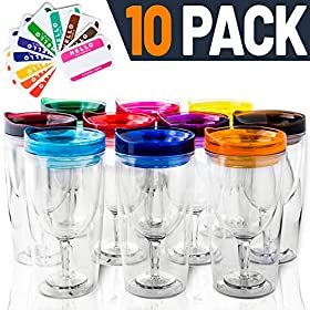 Insulated Wine Tumbler With Lid (SET OF 10) +BONUS Name Decals   Outdoor Acrylic Plastic Wine Glasses   10oz Cup Tumblers in 10 Colors – Adult Sippy   Unbreakable Stemless Wine Glass