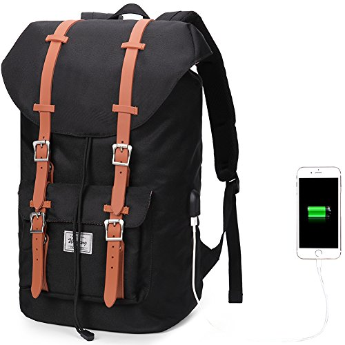 Laptop Backpack Outdoor Waterproof Travel Hiking School Daypack with USB Charging Port Fits Under 17