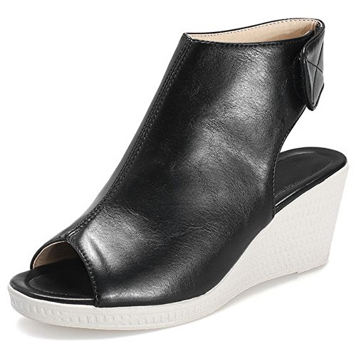 LongFengMa Heeled Wedge Women's Black Fashion Sandals Wrap Bootie AAOFxpwqr