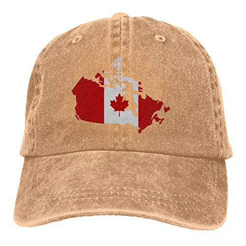 Qevenon-08 Men's/Women's Canadian Map with Canada Flag Cotton Denim Baseball Cap Adjustable Dad Hat