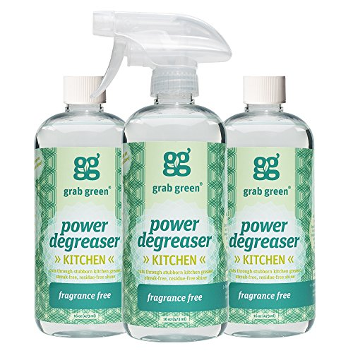 Grab Green Naturally-Derived, Non-Toxic, Biodegradable Power Degreaser, Residue & Streak-Free Finish, Fragrance Free, 16 Ounce Bottle (3-Pack) (Green Cabinets Kitchen)