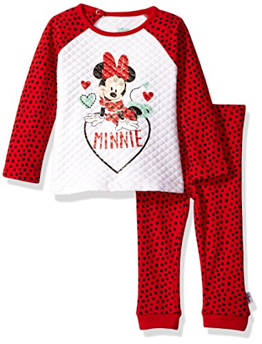 Disney Baby Girls' Minnie Mouse 2 Piece Quilted Top and Legging Set, Red, 0-3 Months