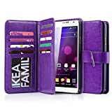 Galaxy Note 3 Case, Jwest Galaxy Note 3 Wallet Case,Premium PU Leather Case Magnetic Wallet Credit Card ID Holder Flip Cover Case with 9 Card Slots Wrist Strap Case for Samsung Galaxy Note 3 Purple