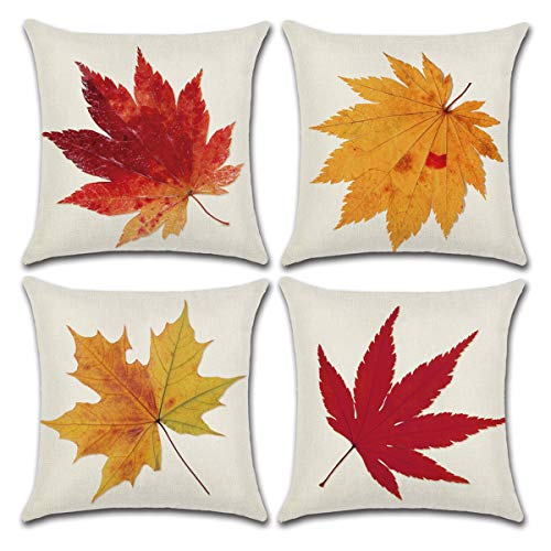 Autumn Leaves Pillow - CARRIE HOME Maple Leaf Pillow Covers Autumn Fall Decor Throw Pillow Covers 18x18 inches for Home and Outdoor, Set of 4