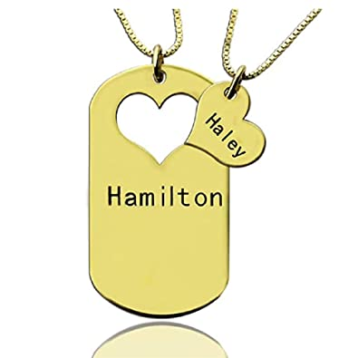 04fe564f18 Personalized Custom 2pcs/Set Matching Relationship with Heart Pendant Dog  Tag Necklace for Couple Boyfriend and Girlfriend | Amazon.com