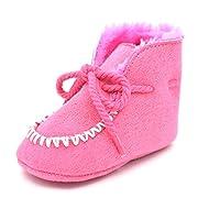 Barerun Toddler Baby Boys Girls Plush Moccasins Tassels Soft Sole Non-Slip Warm Snow Boots First Walkers