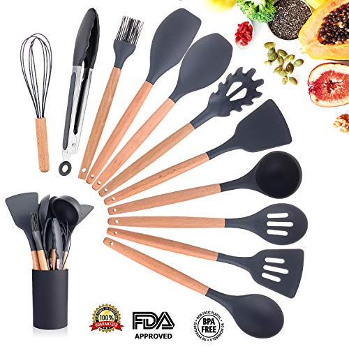 Silicone Cooking Utensils Kitchen Utensil Set, 11 Pieces Natural Wooden Handles Cooking Tool BPA Free Non Toxic Silicone Turner Tongs Spatula Spoon Kitchen Gadgets Utensil Set for Nonstick ()