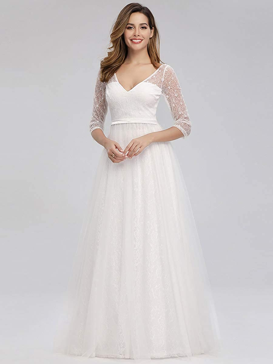 Ever-Pretty Womens V-Neck Elegant 3//4 Sleeve Lace Floor Length A Line Tulle Evening Dresses 00806