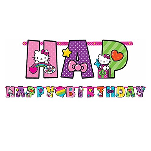 Happy Birthday Hello Kitty - Adorable Hello Kitty Rainbow Jumbo Add-An-Age Letter Banner Birthday Party Decoration (1 Piece), Multi Color, 10 1/2' x 10