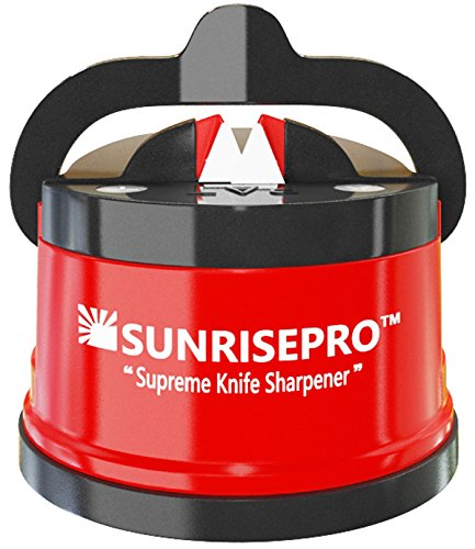 SunrisePro Best Kitchen Knife Sharpener - Smart That Gives Sharp Edge | USA patented, Original, Red