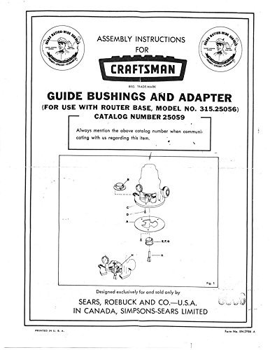 Craftsman Guide Bushings and Adapter (for use with 315.25056) Instructions Reprint