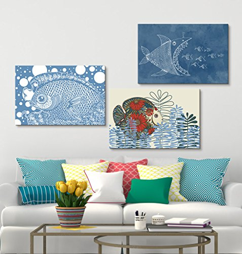 3 Panel Hand Drawn Colorful Fish in the Sea Gallery x 3 Panels