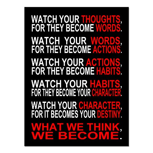 Pyradecor Watch Your Thoughts Motivational Classroom Poster Modern Canvas Prints Wall Art Paintings Ready to Hang for Office Living Room Home Decorations Stretched and Framed Giclee Pictures -