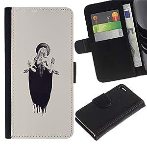 A-type (Lucia Woman Beige Ink Deep) Colorida Impresión Funda Cuero Monedero Caja Bolsa Cubierta Caja Piel Card Slots Para Apple Apple iPhone 4 / iPhone 4S