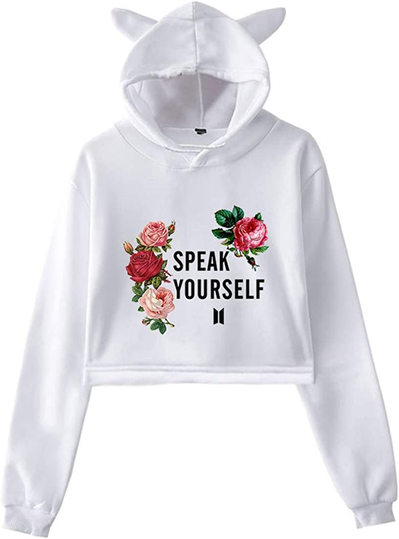 EMILYLE Femme Sweat /à Capuche BTS Speak Yourself World Tour Oreilles de Chat Pull Kpop Love Yourself Hoodie Jimin V Jung Kook Suga Jin RM J-Hope
