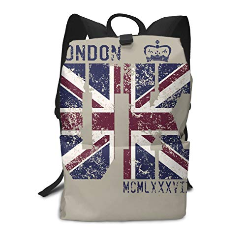 London UK Flag Outdoor Leisure Sports School Travel Backpack Casual Daypack for Business/College/Women/Men ()