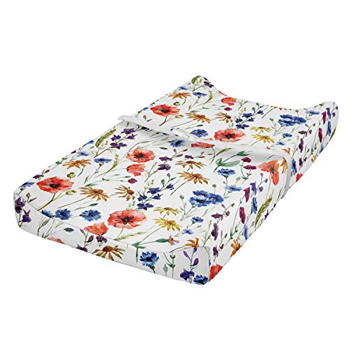 Lunarable Flower Baby Pad Cover, Wildflowers Poppy Chamomile Cornflowers Daisies Countryside Illustration, Changing Table Topper Slipcover Soft & Gentle Printed Sheet, Navy Blue