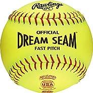 Rawlings Sporting Goods Official ASA Dream Seam Fast Pitch Softballs (One Dozen), Yellow, Size 12