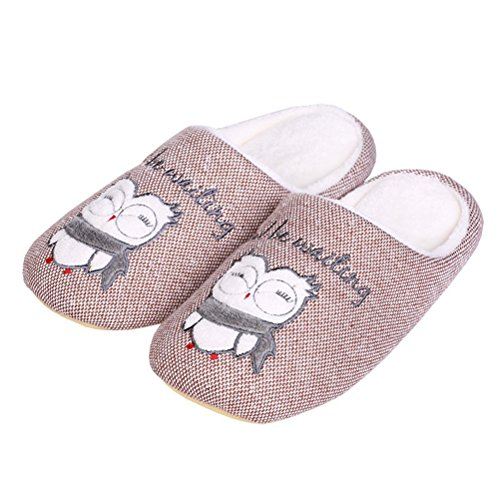YUTIANHOME Mens Slippers Cartoon Washable Soft Warm Non-Slip Flat Closed Toe Indoor Home Bedroom Shoes Coffee/White W2W1Yb1G