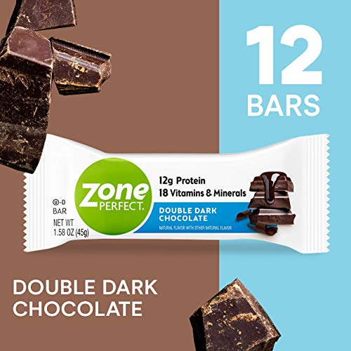 ZonePerfect Protein Bars, Double Dark Chocolate, 12g of Protein, Nutrition Bars With Vitamins & Minerals, Great Taste Guaranteed, 12 Bars