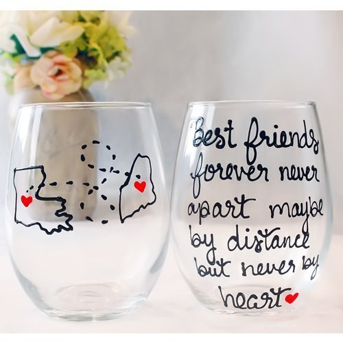 Best Friend Long Distance Friendship Gifts, State Wine Glass, All Countries and State Available, Painted Stemmed or Stemless Wine Glass (Country Wine Gifts)