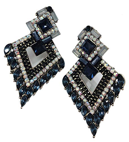 Very Large Art Deco Antique Vintage Style Navy Blue Sapphire Aurora Rhinestone Bridal Bridesmaid Wedding Prom Pageant Statement Cluster Earrings